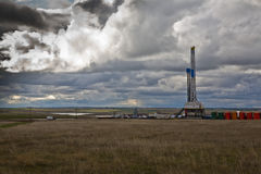 ND Drilling rig. Oil field rig on the prairie Stock Photos