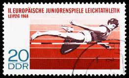2nd Europejskiej młodości sportowa rywalizacja, Leipzig - Wysoki skok, mistrzostwa seria około 1968, fotografia royalty free