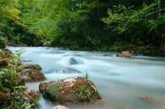 Nd-filterfoto Mjölka strömmen för vattenflödesfors Flod Kaukasus för stenigt berg i skog Fotografering för Bildbyråer