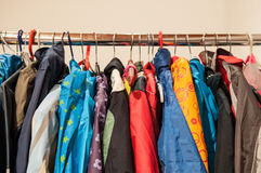 2nd hand clothes on hangers Stock Image