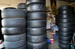 2nd hands tires shop in Thailand Royalty Free Stock Images