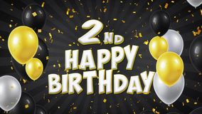 2nd Happy Birthday text greeting, wishes, invitation loop background