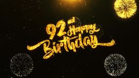 92nd Happy Birthday Text Greeting, Wishes, Celebration, invitation Background. 92nd Happy Birthday Text Greeting and Wishes card Made from Glitter Particles From stock video
