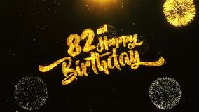 82nd Happy Birthday Text Greeting, Wishes, Celebration, invitation Background. 82nd Happy Birthday Text Greeting and Wishes card Made from Glitter Particles From stock illustration