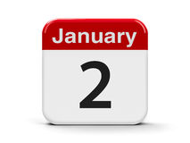 2nd January. Calendar web button - The Second of January, three-dimensional rendering, 3D illustration Stock Photo