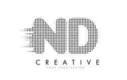 ND N D与黑小点和足迹的信件商标 库存照片