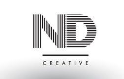 ND N D黑白线信件商标设计 免版税库存图片