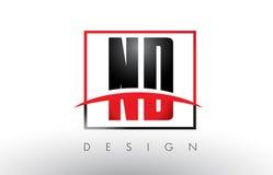ND N D Logo Letters avec des couleurs et le bruissement rouges et noirs Image libre de droits