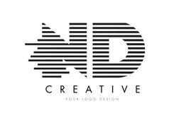 ND N d zebry listu loga projekt z Czarny I Biały lampasami Zdjęcia Stock
