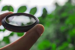 Nd filter lens. ND neutral lens filter for camera photographer stock photo
