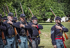72nd New York On the March. Red Bluff, California, United States-April 25, 2015: Union soldiers from the 72nd New York  march in formation towards the  battle Stock Image