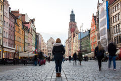 22nd October 2016 Wroclaw, Poland. Woman with her back to the ca royalty free stock photos