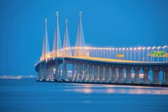 2nd Penang Bridge in Blue Hour. Amazing Sunrise and Sunset in George Town, Penang, Malaysia Royalty Free Stock Images
