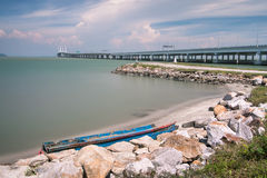 2nd Penang Bridge view by the shore. Beautiful landscape series of sunrise and sunset collection from George Town, Penang, Malaysia Royalty Free Stock Photography