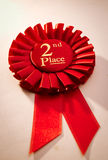 2nd place winners rosette or badge in red Stock Photos