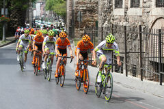 52nd Presidential Cycling Tour of Turkey. ISTANBUL, TURKEY - APRIL 24, 2016: Cyclists in Old Town of Istanbul during first stage of 52nd Presidential Cycling Stock Image