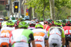 52nd Presidential Cycling Tour of Turkey. ISTANBUL, TURKEY - APRIL 24, 2016: Cyclists in Old Town of Istanbul during first stage of 52nd Presidential Cycling Stock Photography