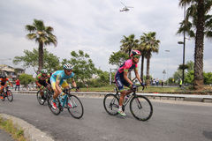 52nd Presidential Cycling Tour of Turkey. ISTANBUL, TURKEY - APRIL 24, 2016: Cyclists in Old Town of Istanbul during first stage of 52nd Presidential Cycling Royalty Free Stock Photos
