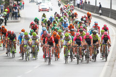 52nd Presidential Cycling Tour of Turkey. ISTANBUL, TURKEY - APRIL 24, 2016: Cyclists in Old Town of Istanbul during first stage of 52nd Presidential Cycling Stock Photo