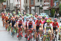 52nd Presidential Cycling Tour of Turkey. ISTANBUL, TURKEY - APRIL 24, 2016: Cyclists in Old Town of Istanbul during first stage of 52nd Presidential Cycling Royalty Free Stock Photography