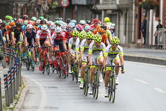 52nd Presidential Cycling Tour of Turkey. ISTANBUL, TURKEY - APRIL 24, 2016: Cyclists in Old Town of Istanbul during first stage of 52nd Presidential Cycling Stock Photos