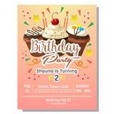 2nd przyjęcia urodzinowego zaproszenia karta z czekoladową babeczką royalty ilustracja