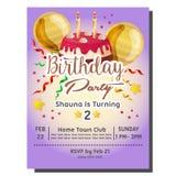 2nd przyjęcia urodzinowego zaproszenia karta z wyśmienicie tarta Fotografia Royalty Free