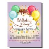2nd przyjęcia urodzinowego zaproszenia karta z balonu i polewy tarta Zdjęcie Royalty Free