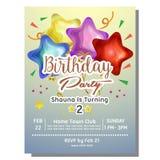2nd przyjęcia urodzinowego zaproszenia karta z gwiazda balonem Obraz Royalty Free