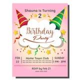2nd przyjęcia urodzinowego zaproszenia karta z kapeluszem ilustracji