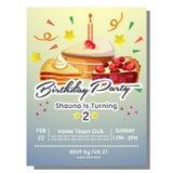 2nd przyjęcia urodzinowego zaproszenia karta z plasterkiem tort Zdjęcia Stock