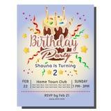 2nd przyjęcia urodzinowego zaproszenia karta z torta wierza Fotografia Royalty Free