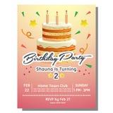 2nd przyjęcia urodzinowego zaproszenia karta z wierza tortem Zdjęcia Stock