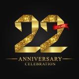 22nd rocznicowy roku świętowania logotyp Loga tasiemkowego złota numerowy i czerwony faborek na czarnym tle royalty ilustracja