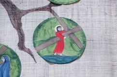 2nd stacjom krzyż, Jezus dają jego krzyżowi Fotografia Royalty Free