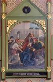 2nd stacjom krzyż, Jezus dają jego krzyżowi Obrazy Stock