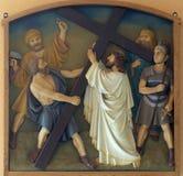 2nd stacjom krzyż, Jezus dają jego krzyżowi Obraz Stock