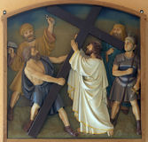 2nd Stations of the Cross, Jesus is given his cross. Church of the Blessed Aloysius Stepinac in Budasevo, Croatia Stock Image