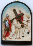 2nd Stations of the Cross, Jesus is given his cross. Holy Trinity church in Hrvatska Dubica, Croatia stock image
