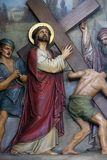 2nd Stations of the Cross, Jesus is given his cross. Basilica of the Sacred Heart of Jesus in Zagreb, Croatia stock images