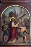 2nd Stations of the Cross, Jesus is given his cross. Basilica of the Sacred Heart of Jesus in Zagreb, Croatia stock photo