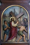 2nd Stations of the Cross, Jesus is given his cross. Basilica of the Sacred Heart of Jesus in Zagreb, Croatia royalty free stock image