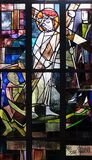 2nd Stations of the Cross, Jesus is given his cross. Stained glass window in Saint Lawrence church in Kleinostheim, Germany Stock Photos