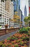 42nd Street with Chrysler Building. Streets of Manhattan. 42nd Street with Chrysler Building - view from the Bryant Park royalty free stock photo