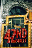 42 nd street light sign on the old building in New York city center Royalty Free Stock Photo