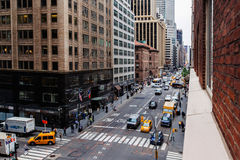 52nd Street and Madson Avenue street view with traffice Midtown royalty free stock photography