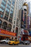 42nd street in Manhattan. NEW YORK CITY, USA, September 13, 2017 : Buildings in Times Square. Times Square is a major commercial intersection, tourist Stock Image
