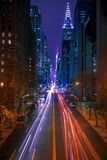 42nd Street in New York City at Night. USA. New York City. Night illumination and traffic on 42nd street stock images