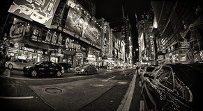 42nd Street. NEW YORK CITY - SEPT 22: Times Square is a busy tourist intersection of neon art and commerce and is an iconic street of New York City and America Royalty Free Stock Photo