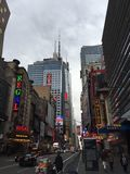 42nd street New York. New York City Times Square city street in the theatre district stock images
